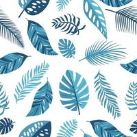 Tropical blue leaves Exotic seamless pattern vector