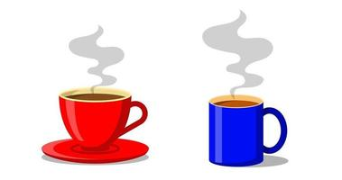 Red and blue cup of coffee or tea cups with smoke floating up. Flat style Decorative design for cafeteria posters banners cards vector