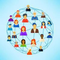 esquema abstracto de comunicación en redes sociales vector