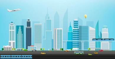 Cityscape with different city transport vector illustration