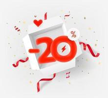 Banner de vector de veinte por ciento de descuento con caja abierta blanca y elementos rojos