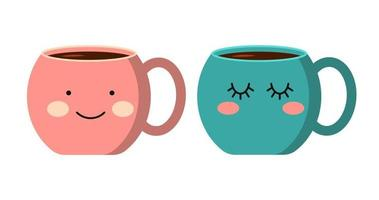 Cup with emotions. Flat Style Decorative design for cafeteria posters banners cards vector