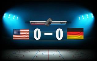 Begin of the hockey match USA versus Germany vector