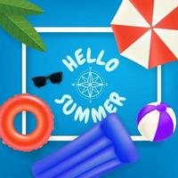 Hello summer Travel vector concept with white frame