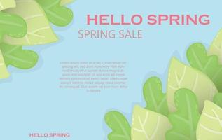Spring summer background with leaves Bright background for discounts sales information poster flyer Popular background with designer bright unusual colorful leaves design concept  spring banner vector