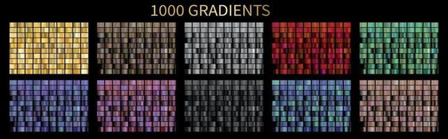 Big collection of metallic gradients. Megaset 1000 glossy colors backgrounds. vector