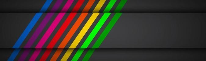 Modern rainbow colored lines on black header Vector illustration for your presentation Simple banner for your business