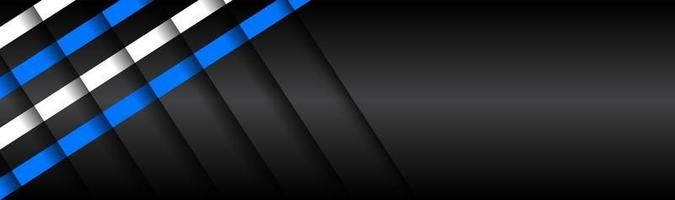 Black material design banner with blue and white diagonal stripes severed by shadows modern web header widescreen vector illustration