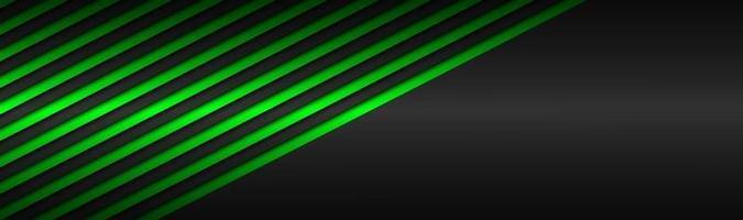 Encabezado de vector metálico abstracto verde oscuro con líneas inclinadas patrón de rayas verdes líneas paralelas y tiras fondo de pantalla panorámica abstracta de vector con espacio en blanco para su logotipo