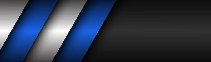 Abstract black white and blue modern material header Technology banner Vector abstract widescreen background