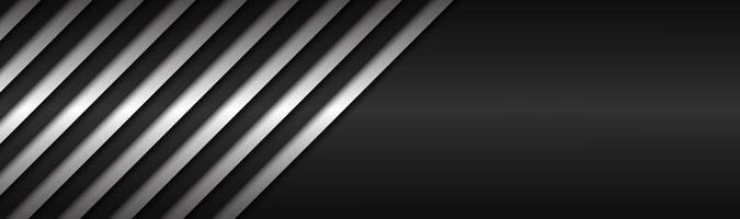Black and white abstract metallic vector header with slanting lines Black and white striped pattern parallel lines and strips Vector abstract widescreen background