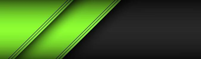 Black and green material design header Modern technology banner with overlap sheets of paper with black lines Widescreen vector illustration