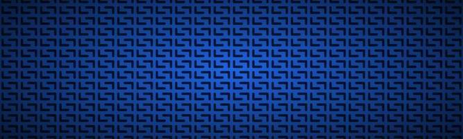 Blue geometric perforated header Abstract dark blue metallic stainless steel banner Vector illustration