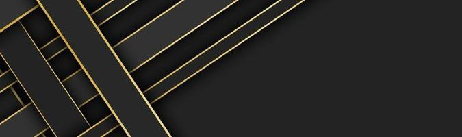 Black and gold overlapped stripes vector header Geometric material banner with blank space for your logo Dark abstract website design