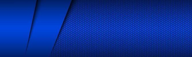 Blue modern material design header with hexagonal grid Corporate template for your business Vector abstract widescreen banner