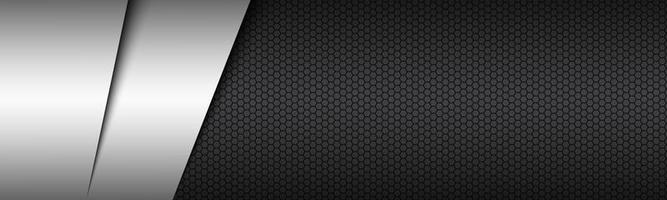 Black and white modern material header with hexagonal pattern Corporate template for your business vector abstract widescreen banner