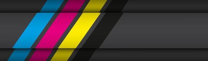 encabezado de material moderno negro con capas superpuestas con banner de colores cmyk para su negocio vector de fondo de pantalla panorámica abstracta