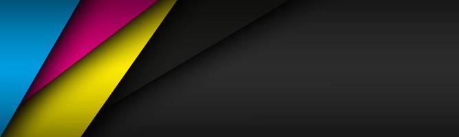 Fondo de material moderno negro con capas superpuestas en colores CMYK Plantilla para su negocio Fondo de pantalla panorámica abstracta de vector