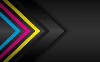 flechas cmyk sobre fondo de metal negro plantilla de vector moderno abstracto con lugar para el diseño de material de texto fondo de pantalla ancha