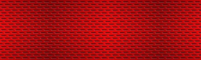 Structured red perforated metal texture header Aluminium grating banner Abstract metallic background Vector illustration