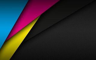 fondo de material moderno negro con patrón de malla hexagonal hojas de papel superpuestas en colores cmyk plantilla para su negocio vector fondo de pantalla panorámica abstracta