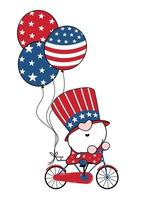 4th of July America Gnome Patriotic on bicycle with balloons cartoon doodle outline flat vector illustation