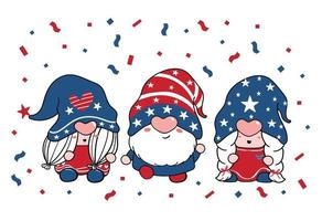 cute Three trio Gnome Independence day 4th of July Gnome Patriotic in Red and Blue cartoon illustration doodle clipart vector