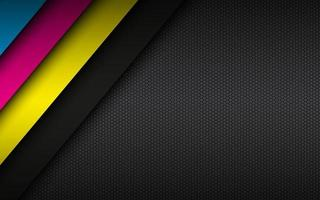 Black modern material background with hexagonal mesh pattern Overlapped sheets of paper in cmyk colors Template for your business Vector abstract widescreen background