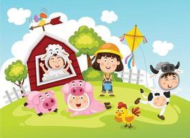 Illustration of farm scene with kids vector