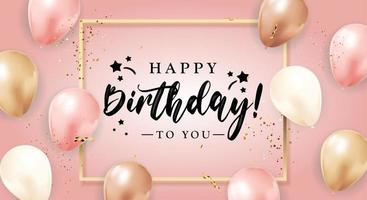 Happy Birthday congratulations banner design with Confetti Balloons and Glossy Glitter Ribbon for Party Holiday Background vector