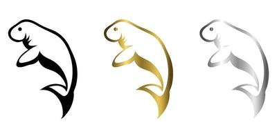 three color balck gold silver line art Vector illustration on a white background of a manatee Suitable for making logo