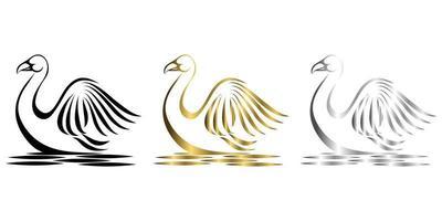 Ilustración de vector de arte de línea de plata oro negro de tres colores sobre un fondo blanco de un cisne adecuado para hacer logo