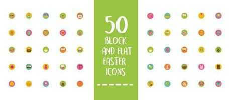 easter lettering with bundle of spring set block and flat icons vector