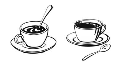 Hand drawn cup mug of hot drink coffee tea etc cups isolated on white background. Teacup coffee cup Morning fresh drinks vector