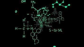 Fórmula de química científica sobre fondo negro o investigación sobre concepto de medicina química médica video