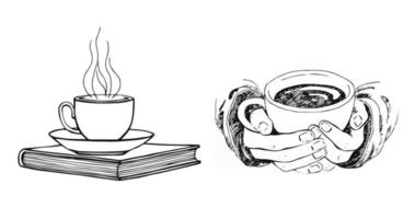 Hand drawn sketch of hands holding a cup of coffee or tea and book isolated on white background. Morning fresh drink isolated on white background vector