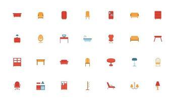 bundle of furniture set icons vector