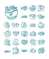 bundle of waves ocean set icons vector