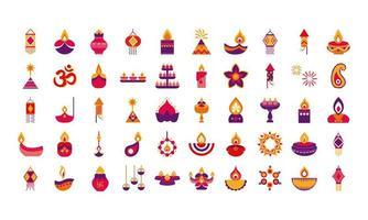 paquete de cincuenta iconos de estilo plano de diwali vector