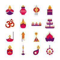 bundle of sixteen diwali set flat style vector