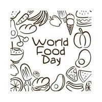 world food day celebration lettering with food pattern line style vector