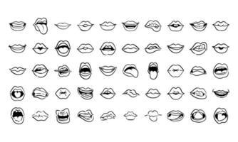 paquete de cincuenta bocas iconos de estilo de línea de arte pop vector