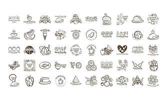paquete de cincuenta iconos de estilo de línea de letras de celebración del día mundial de la comida vector