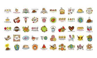 paquete de cincuenta iconos de estilo plano de letras de celebración del día mundial de la comida vector