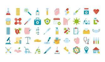 paquete de cincuenta iconos de conjunto médico vector