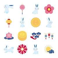 Paquete de dieciséis iconos de colección de set de mediados de otoño vector