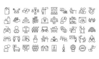 paquete de cincuenta iconos de estilo de línea de conjunto de coworking vector