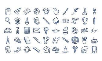 paquete de cincuenta útiles escolares vector