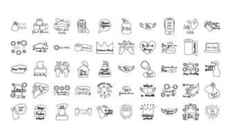 paquete de cincuenta iconos de estilo de línea de letras de campaña vector