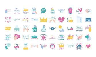 paquete de cincuenta iconos de estilo plano de leyendas de campaña vector